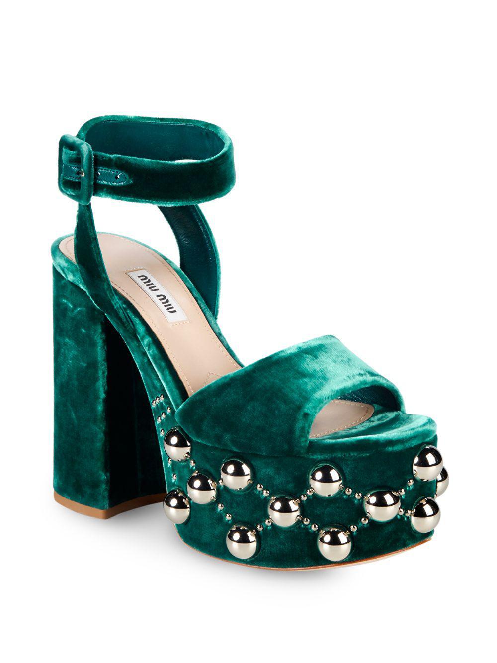54991cf0468 Lyst - Miu Miu Velvet Sandals in Green