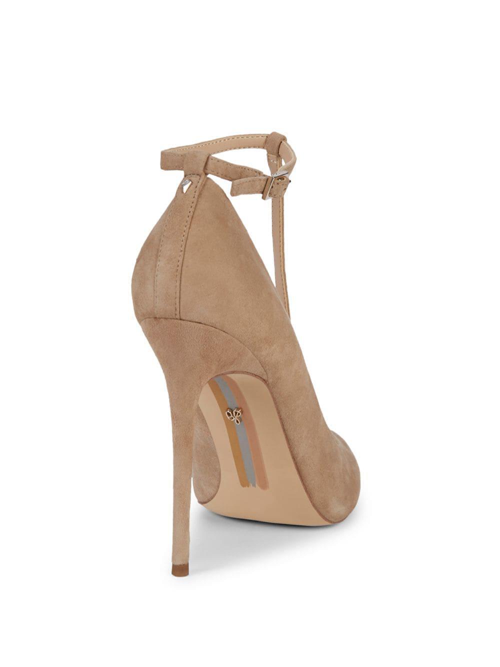 f5c5d2434 Lyst - Sam Edelman Dorinda Ankle-strap Suede Stiletto Pumps in Natural