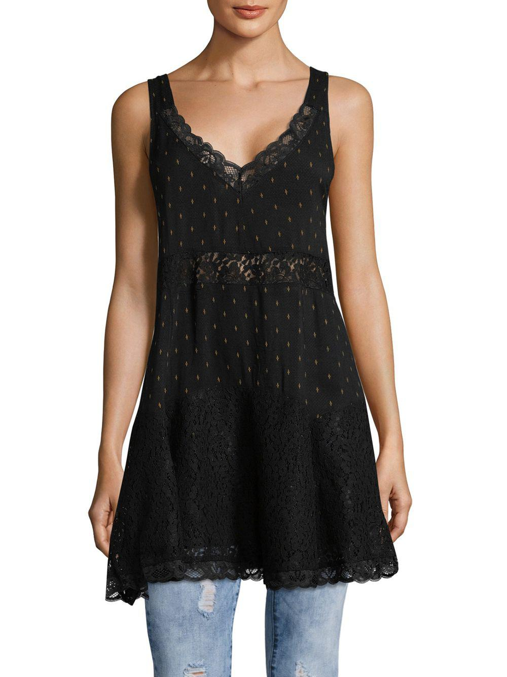453441f86f8e Free People Party Trapeze Lace Paneled Tunic in Black - Lyst