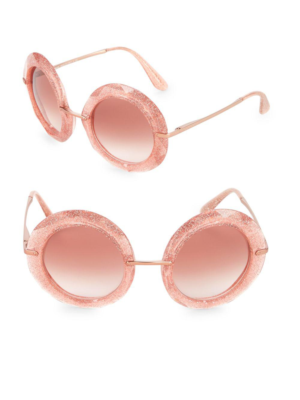 1066c4e1bc6f Dolce   Gabbana 50mm Glittered Round Sunglasses in Pink - Lyst