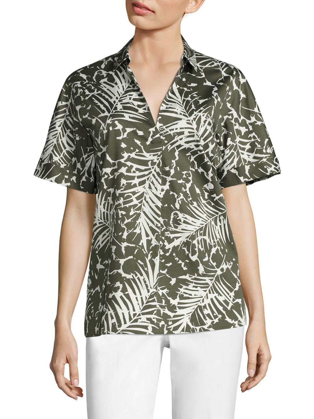 044aed9630e9d Lyst - Lafayette 148 New York Damon Palm-print Blouse in Green ...