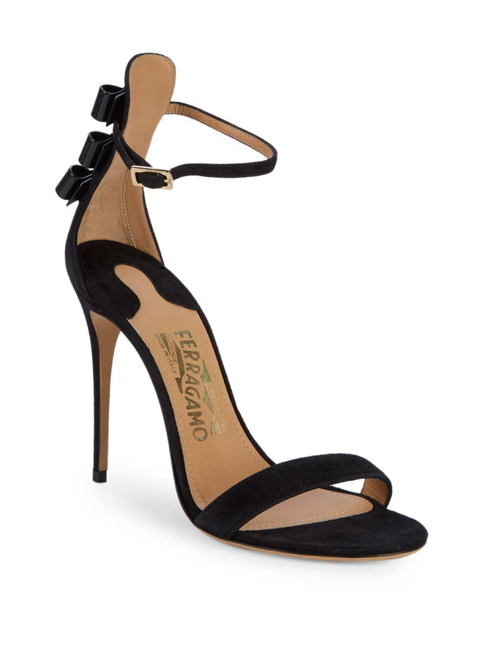 1686626052f7 Lyst - Ferragamo Angie Suede Sandals in Black