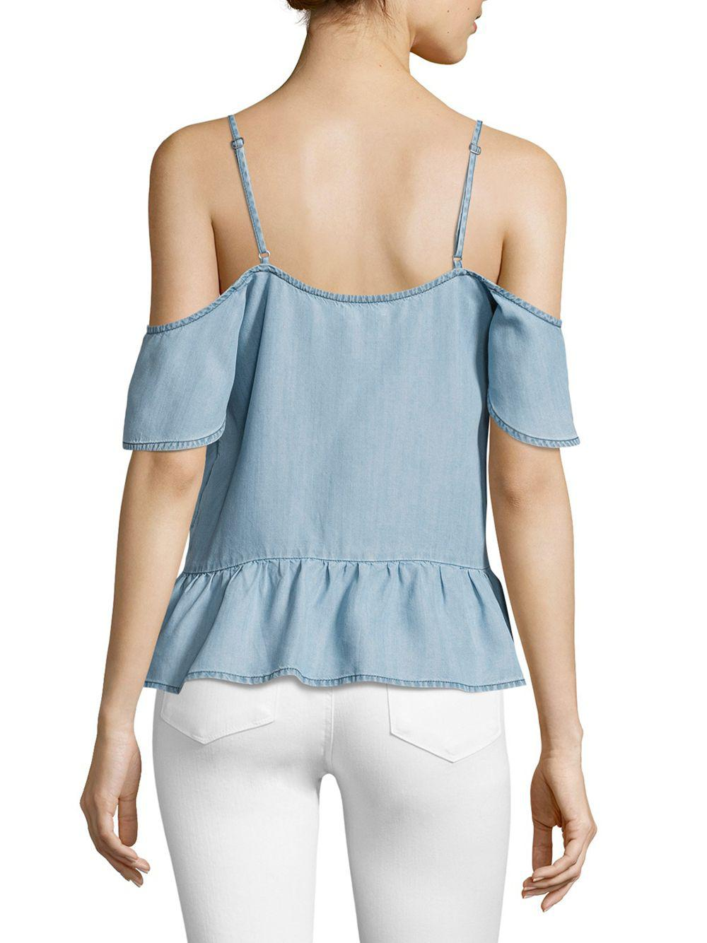 c4c61d14712504 Lyst - PAIGE Mitzi Chambray Off-the-shoulder Top in Blue - Save 48%