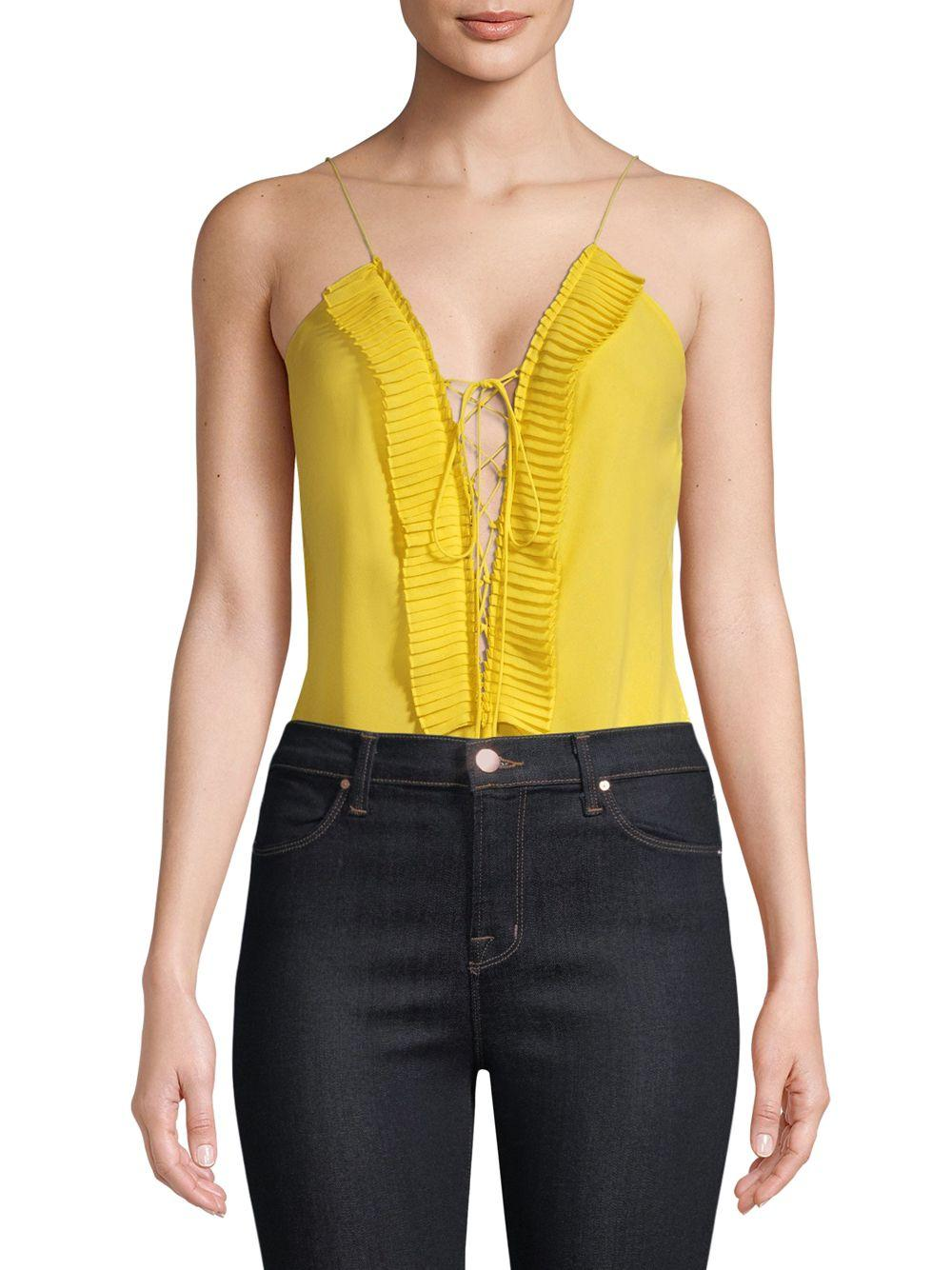 Lyst - Delfi Collective Plunging Lace-up Bodysuit in Yellow 9cd323eeb
