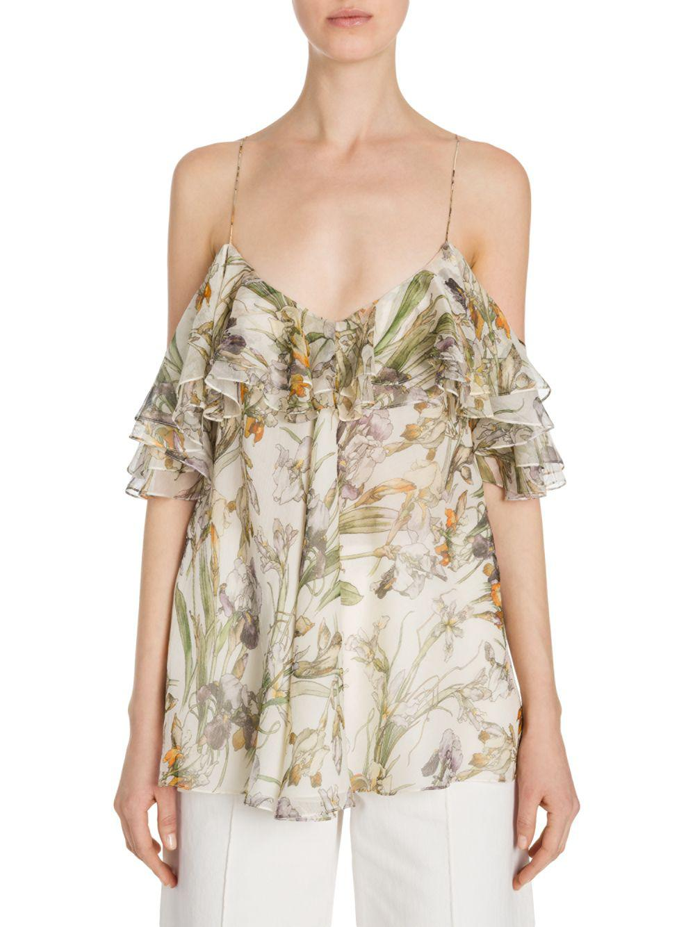 1e26042a8e Alexander McQueen Ruffled Floral-print Silk Cold-shoulder Top - Save ...