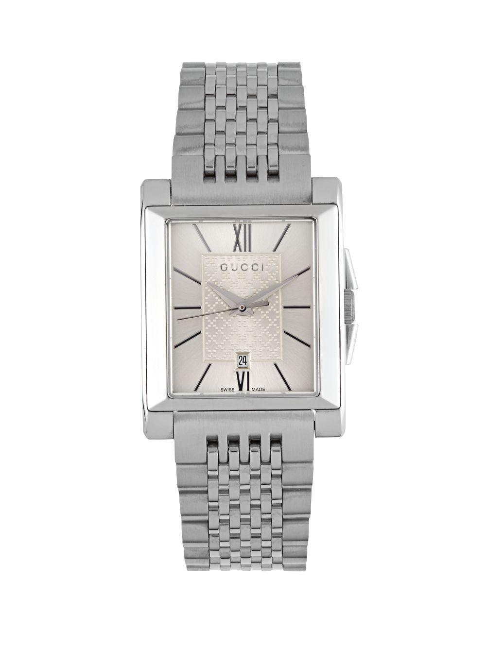 31cb7e60efb Lyst - Gucci Stainless Steel Quartz Watch in Metallic