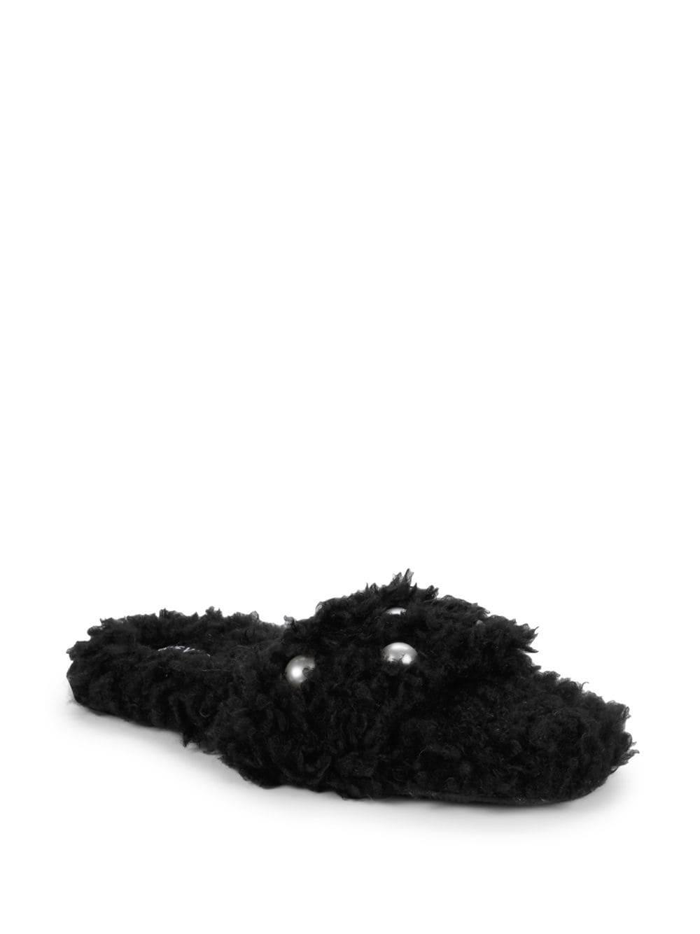 22c2fb218f6 Lyst - Nine West Studded Faux Fur Fuzzy Slides in Black