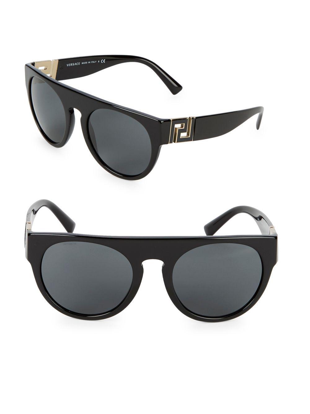 8c82733341bb Versace 55mm Round Sunglasses in Black - Lyst