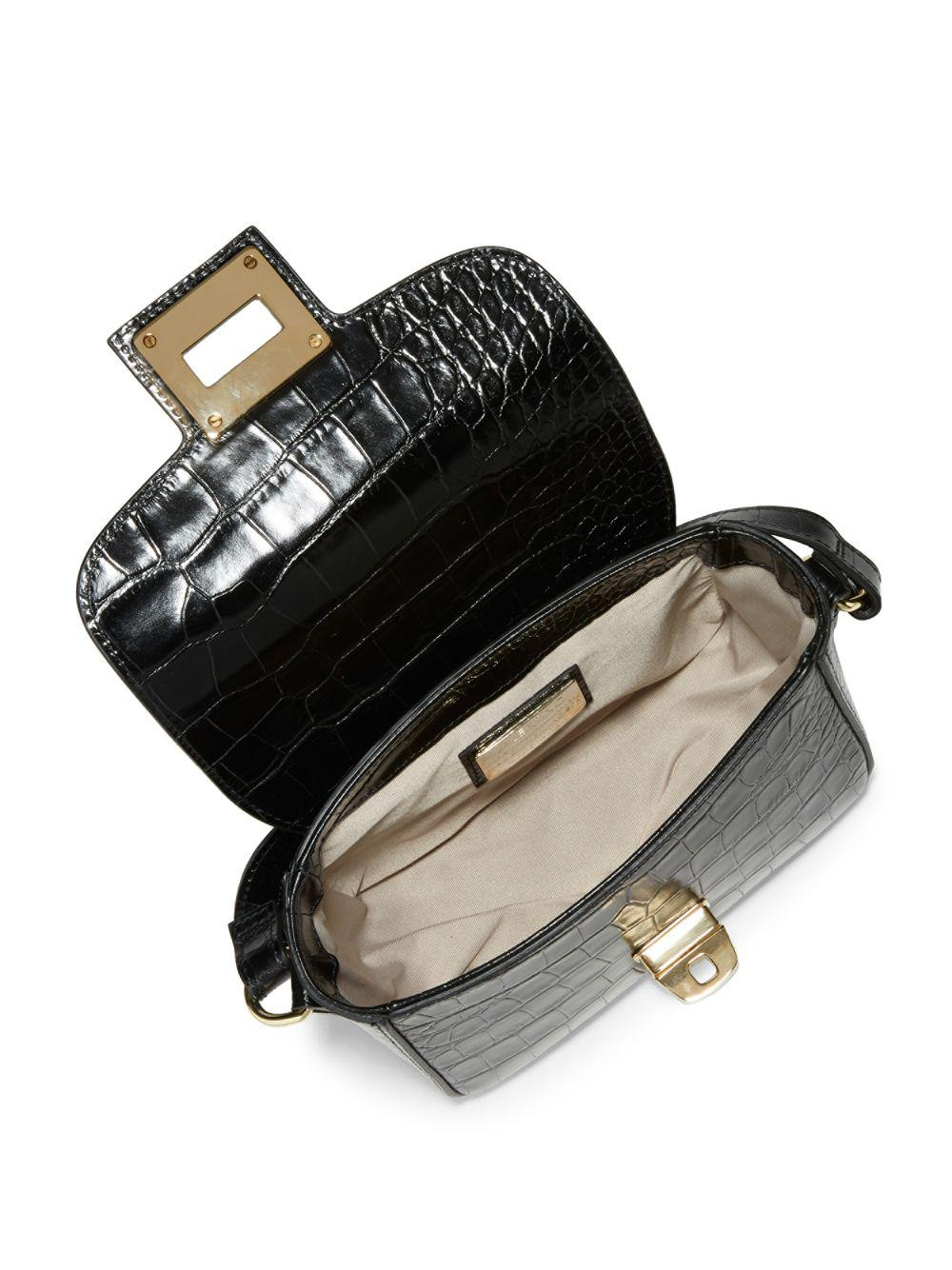 b2b3d48f18 Lyst - Valentino By Mario Valentino Yasmin Croc-embossed Leather Shoulder  Bag in Black