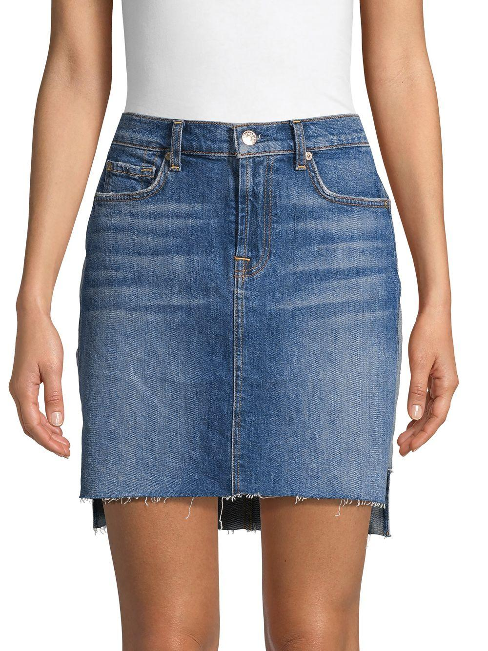 7abe7e14f3116 Lyst - 7 For All Mankind Step-hem Denim Skirt in Blue