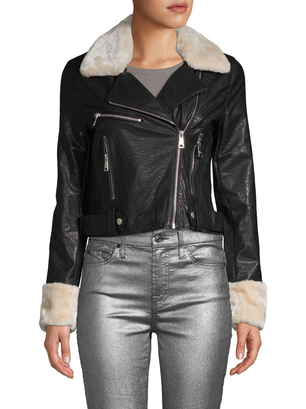 49d87387959 Lyst - Vigoss Faux Fur Collar Faux Leather Moto Jacket in Black ...