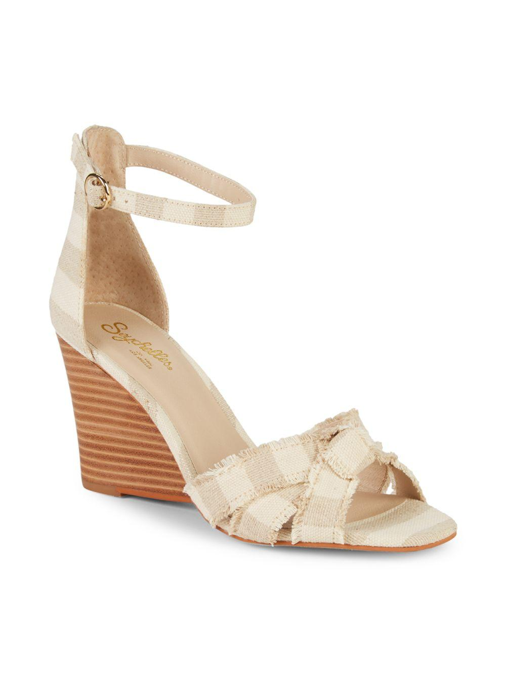 317692b1f2e8 Lyst - Seychelles Fringed Wedge Sandals in Natural