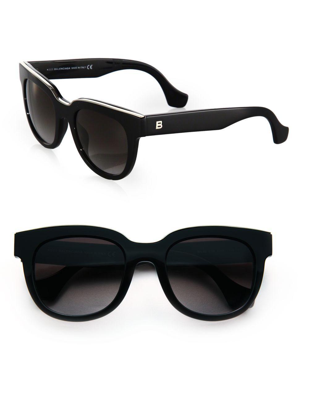 c1aea56891c81 Balenciaga 52mm Acetate   Metal Square Sunglasses in Black - Lyst