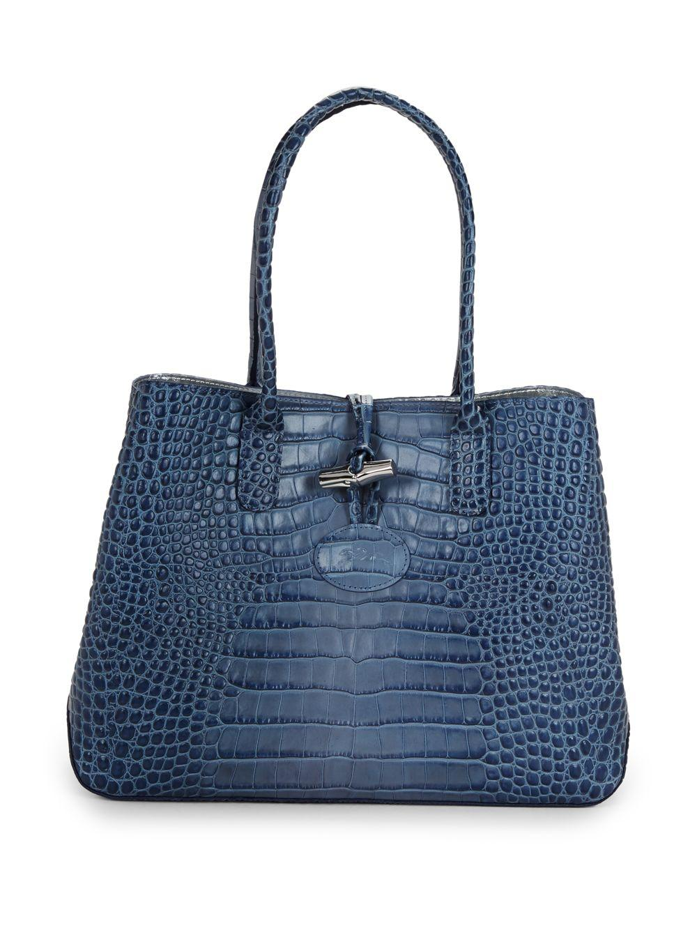 Longchamp Roseau Croc-embossed Leather Tote in Blue - Lyst 9aaf034d7b044
