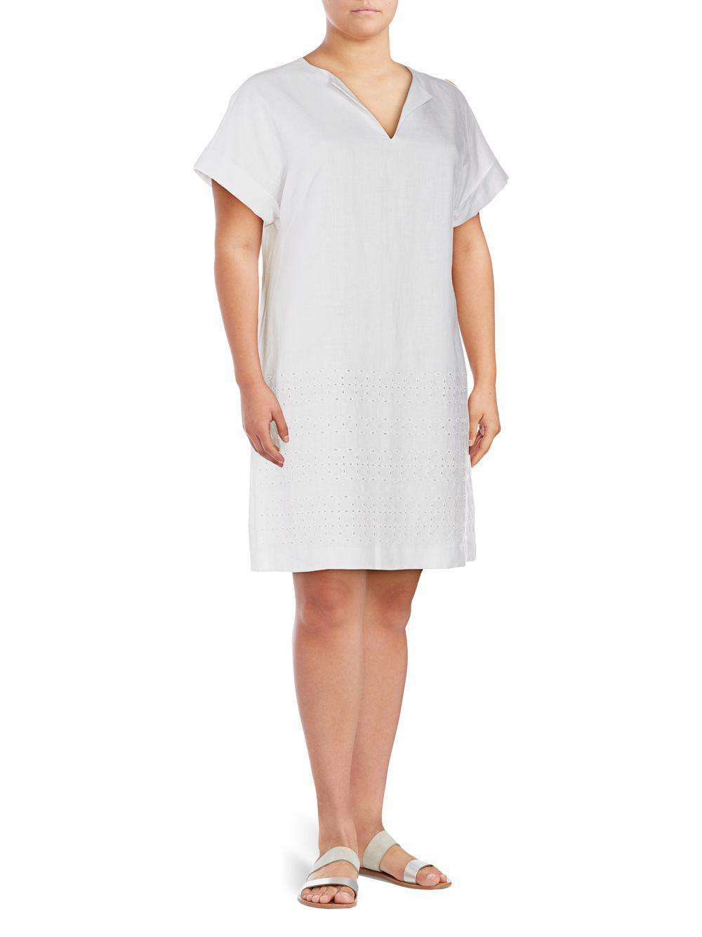 de35d0581c Lafayette 148 New York. Women s White Plus Fabian Embroidered Linen Dress