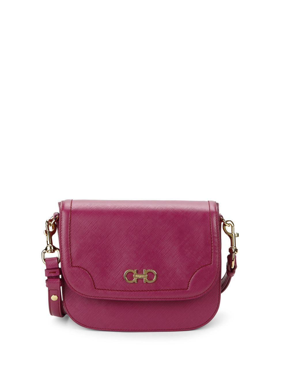 04e7313dbad4 Lyst - Ferragamo Leather Saddle Shoulder Bag in Pink