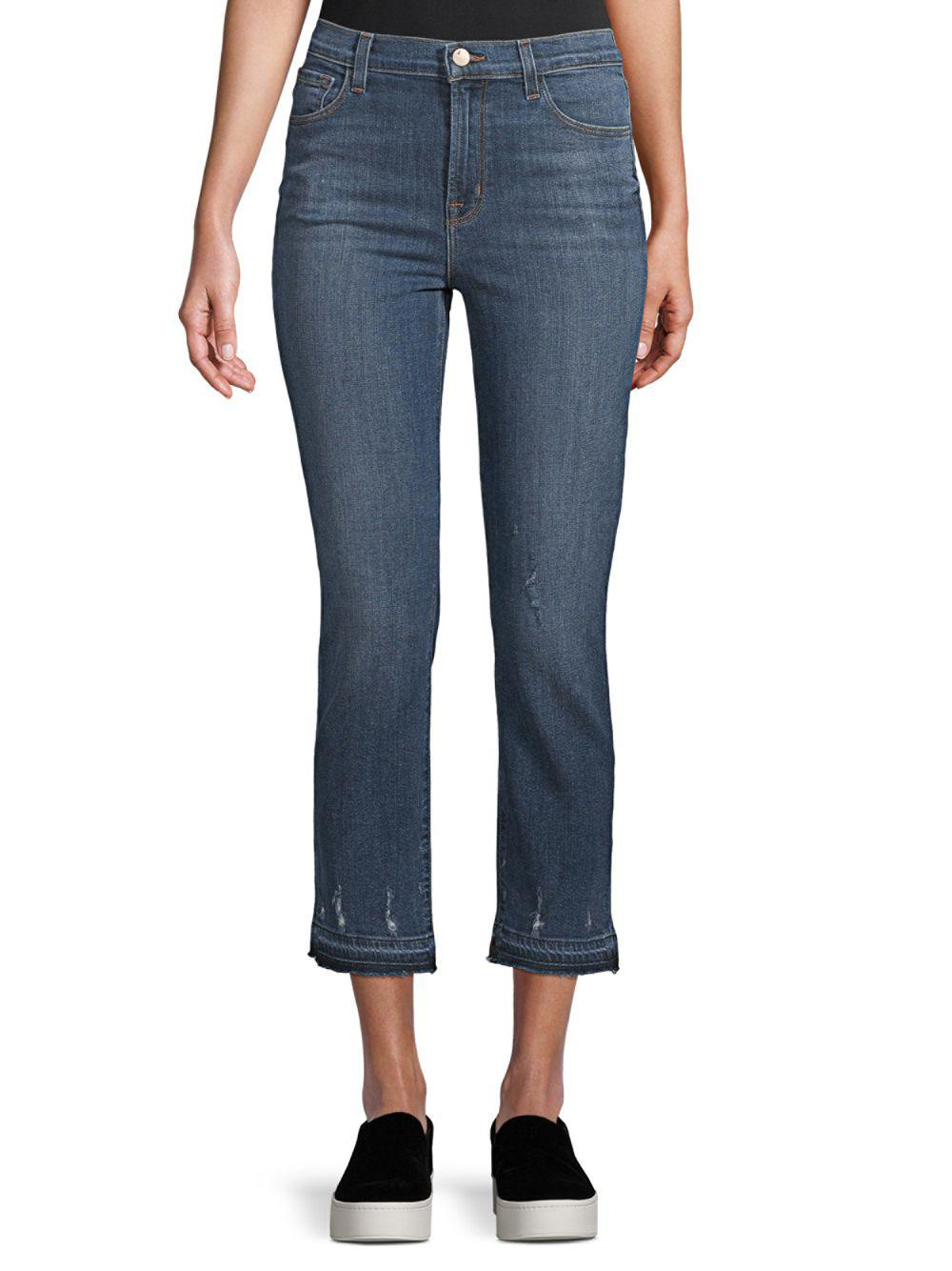 d23003ab69c8 Lyst - J Brand Ruby Distressed High-rise Cropped Jeans in Blue ...
