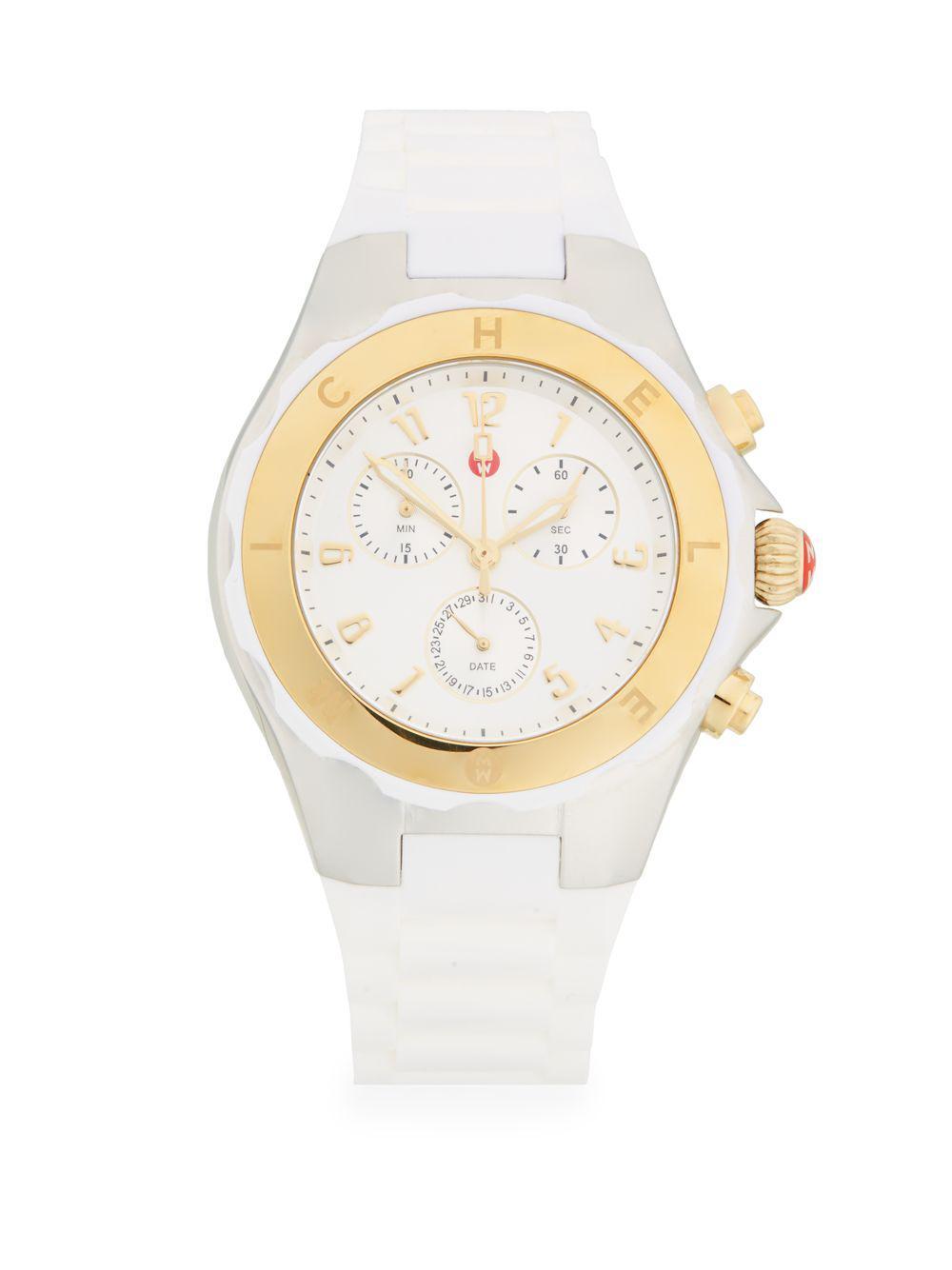 3cf1de2ec Michele Tahitian Jelly Bean Two-tone Chronograph Watch in White - Lyst