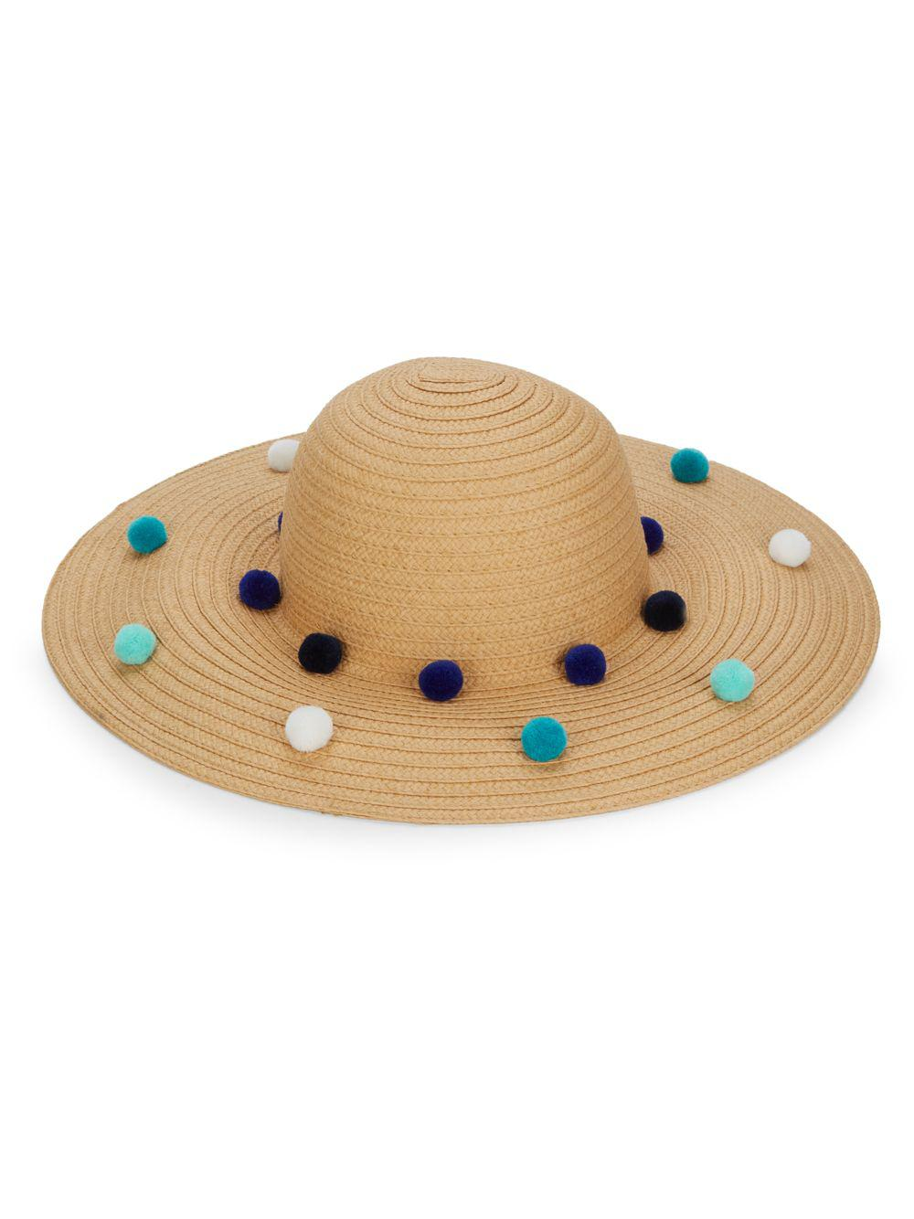 93fb445fa74 ... Bcbgeneration Funfetti Pom-pom Sun Hat in Natural - Lyst official  images 08a7b 796fa ...