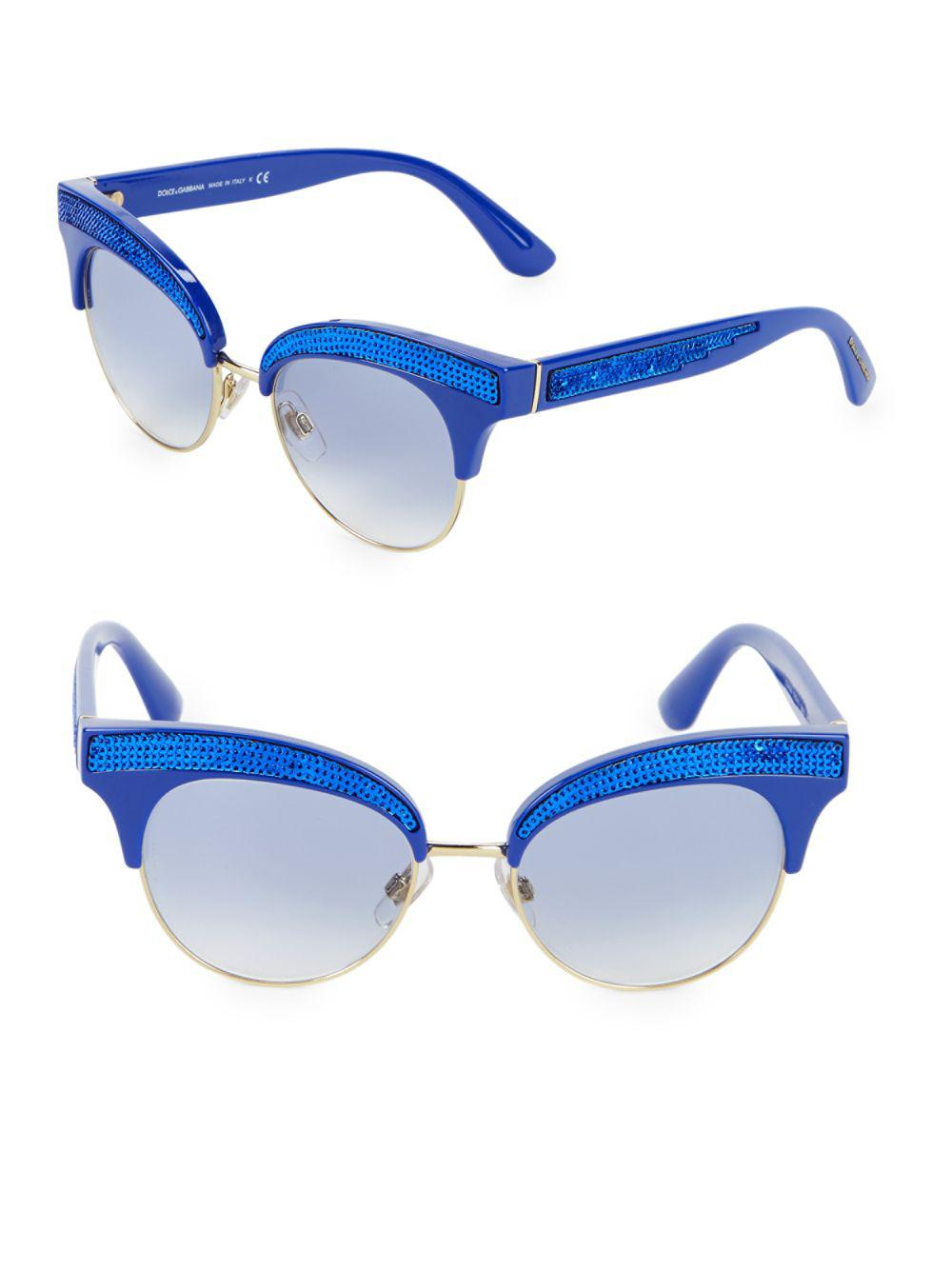 d0ed055ecb78 Lyst - Dolce   Gabbana 50mm Sequin Trim Cateye Sunglasses in Blue ...