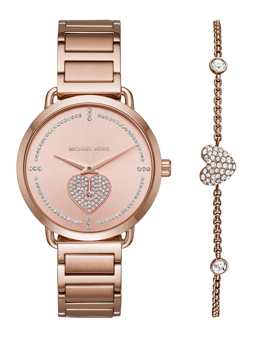 3599a8733912 Michael Kors - Metallic Portia Pavé Rose Goldtone Stainless Steel Bracelet  Watch - Lyst. View fullscreen