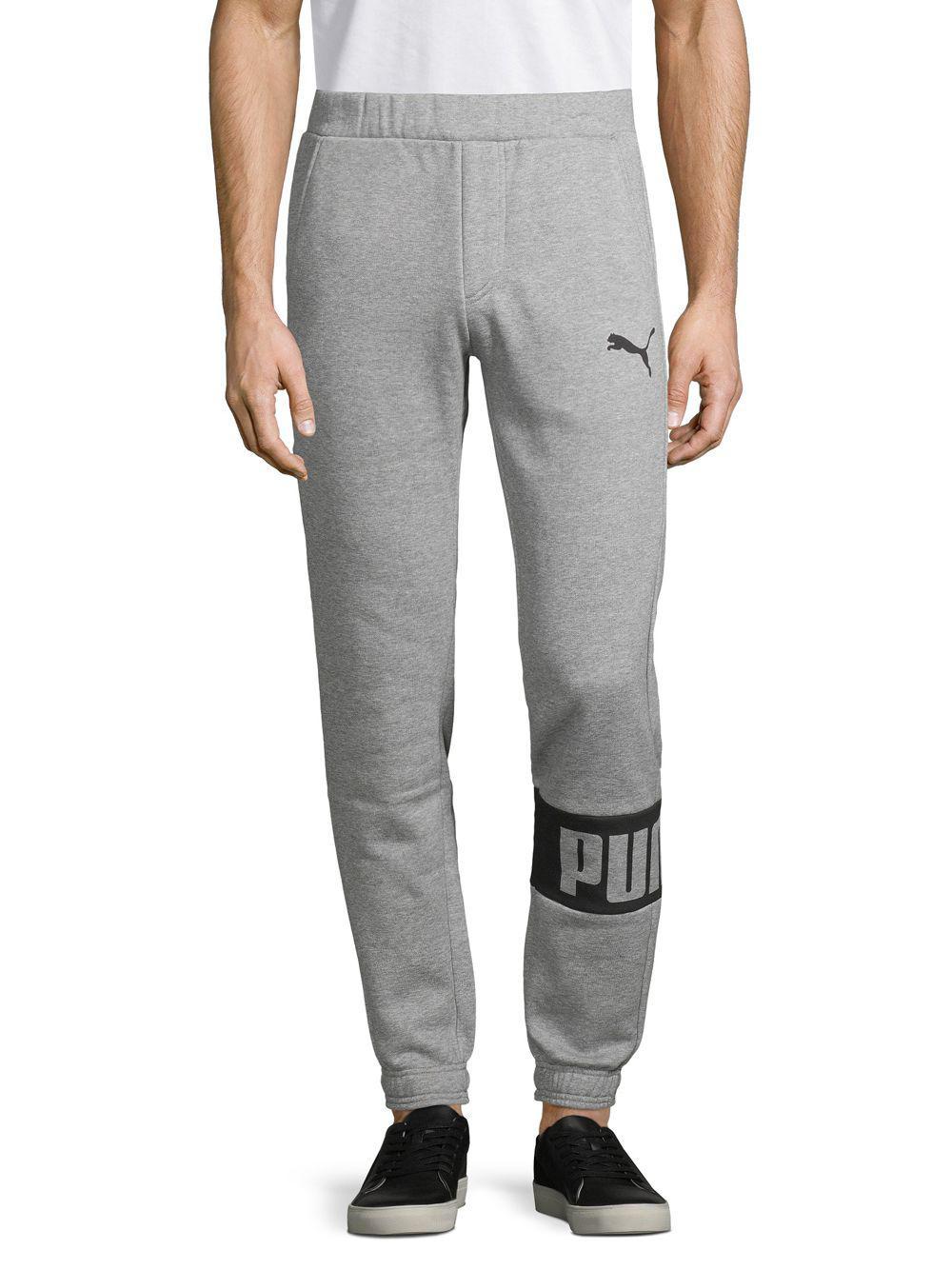fbbdb4187577 PUMA Rebel Logo Sweatpants in Gray for Men - Lyst