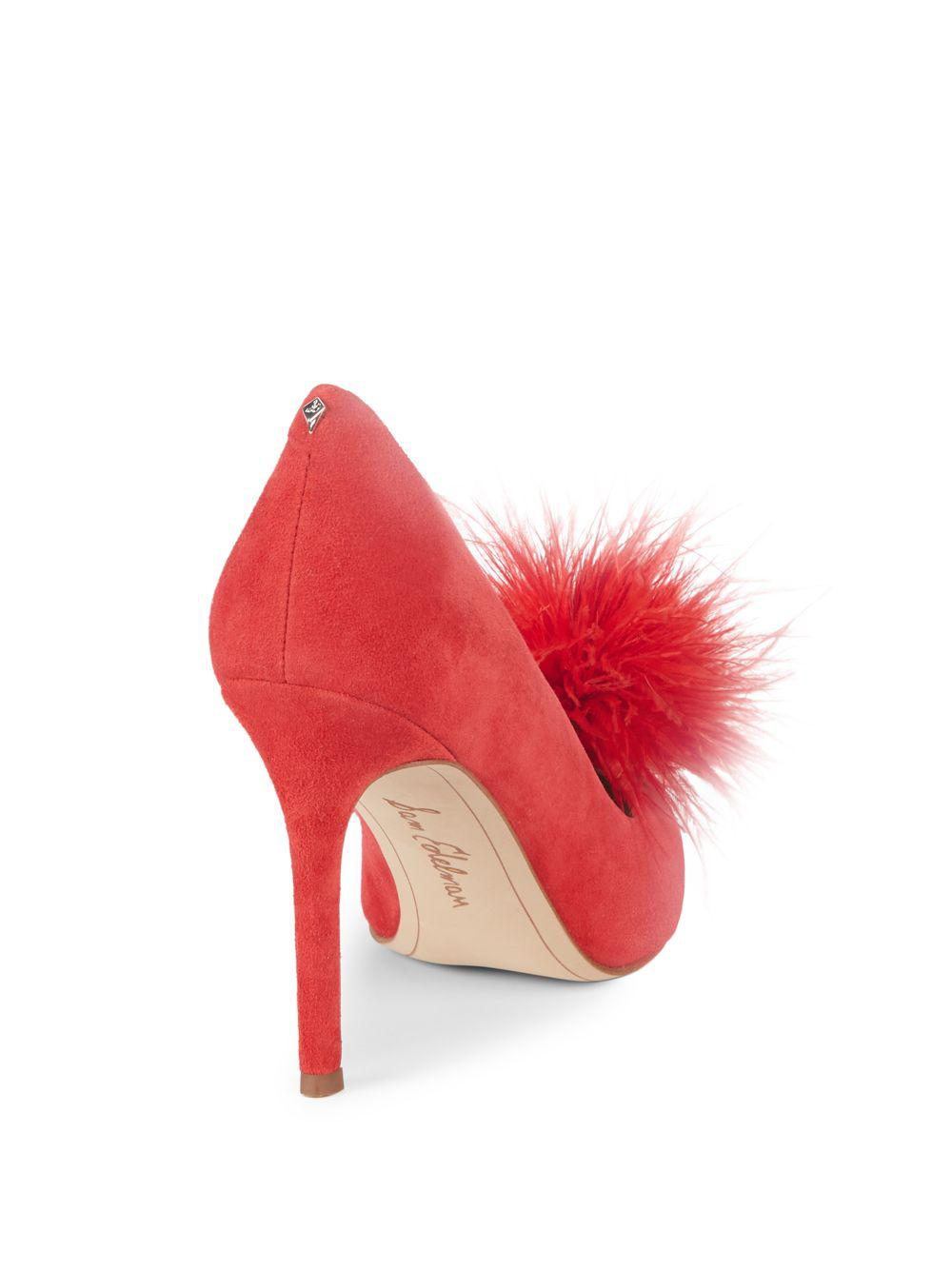 84b23ea09a06d Lyst - Sam Edelman Haide Feather-trimmed Suede Pumps in Red