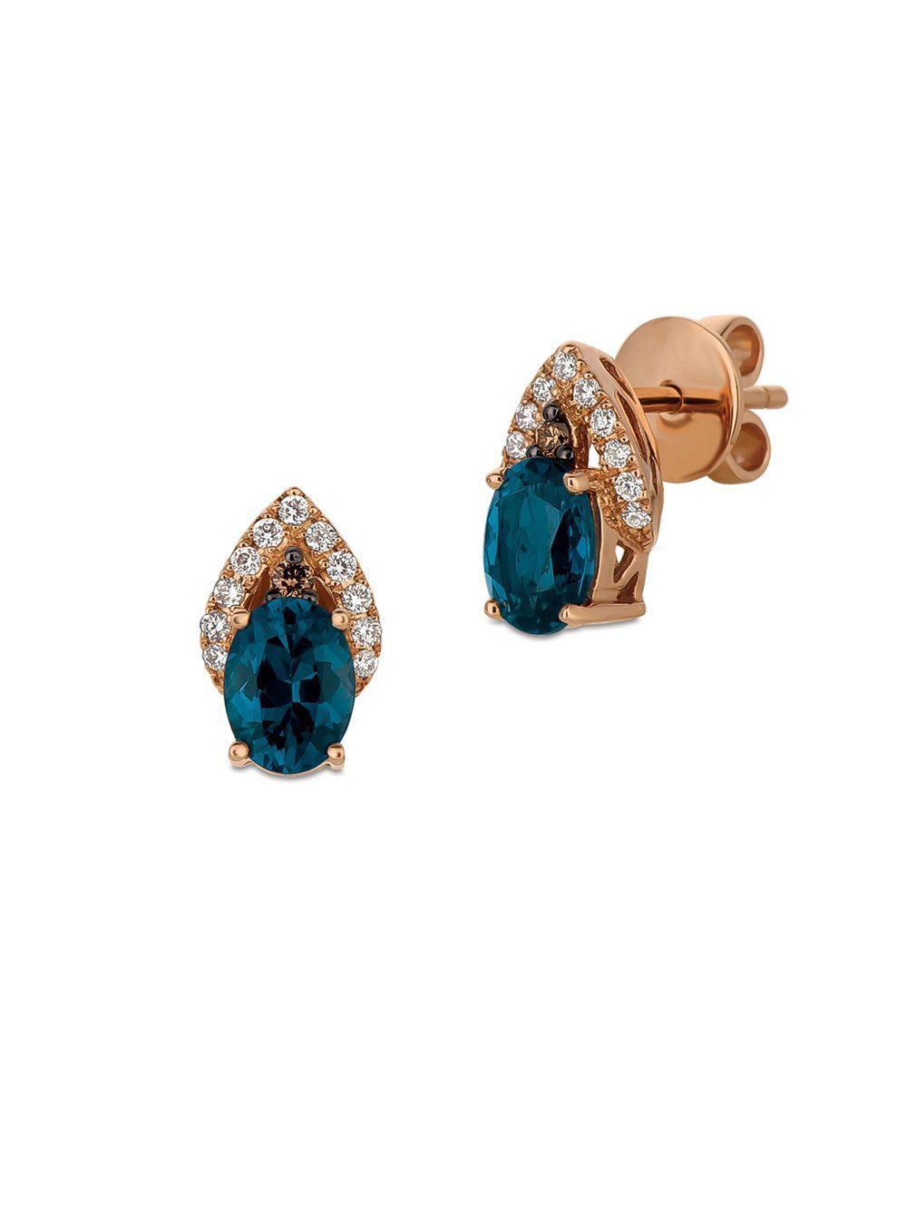 63ae2fbb3 Le Vian. Women's 14k Strawberry Gold Deep Sea Blue Topaz Vanilla Diamonds & Chocolate  Diamonds Chocolatier Earrings