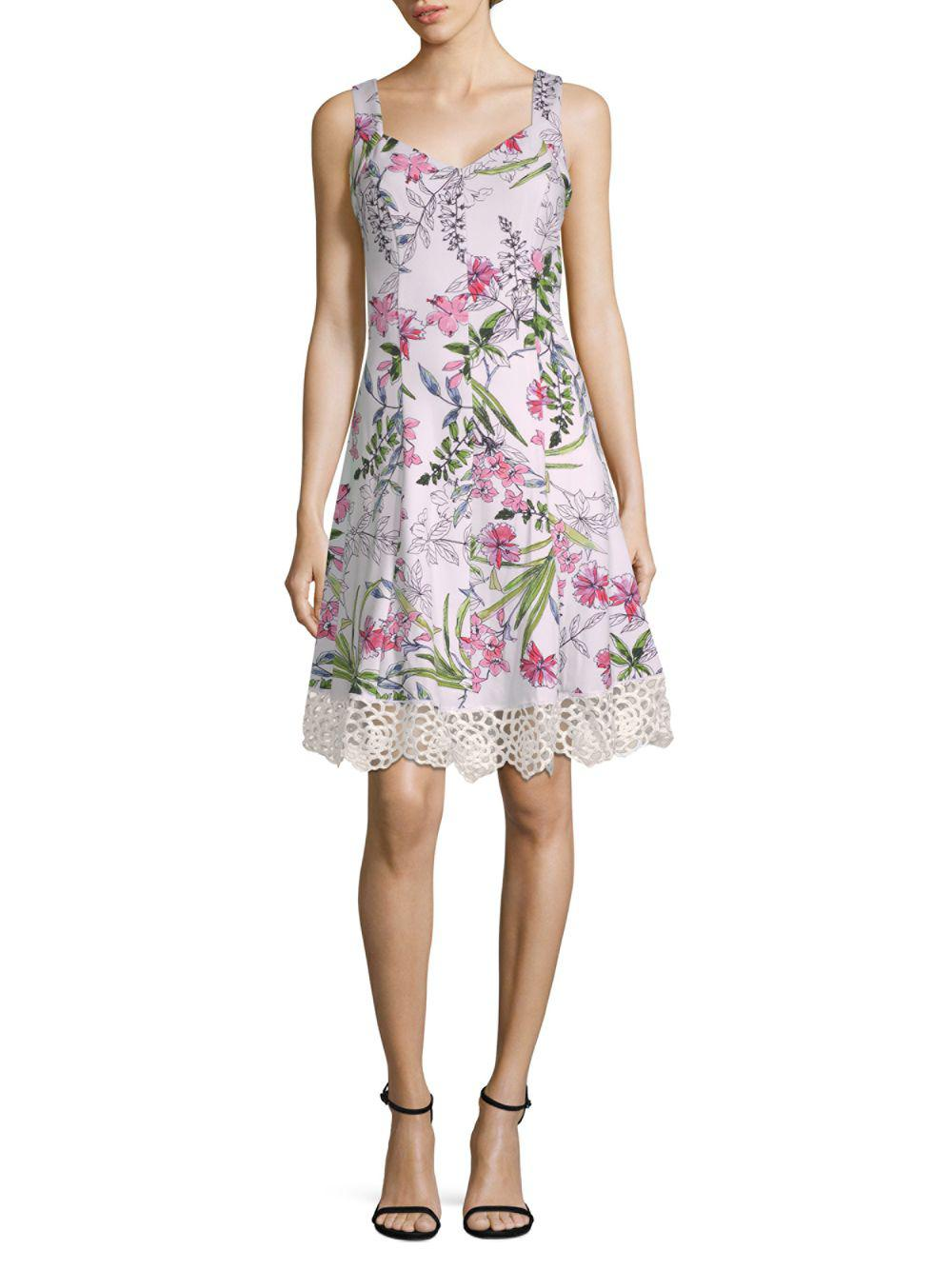 0a048fd593ce92 Donna Ricco Floral-print Sleeveless Fit-&-flare Dress in White - Lyst