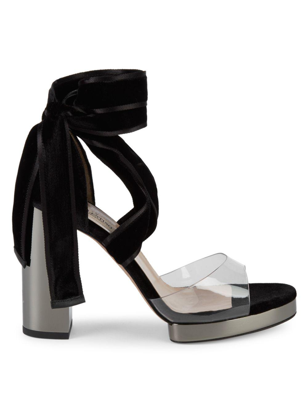 32cd22cfe8be Lyst - Valentino Velvet   Pvc Block-heel Sandals in Black