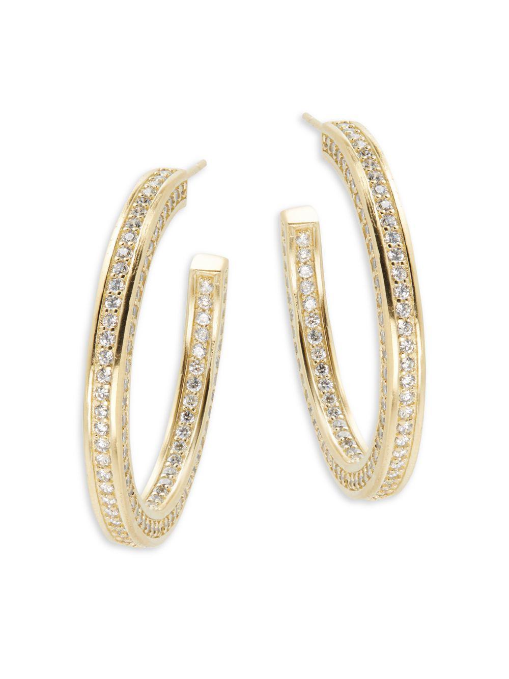 Freida Rothman Women S Metallic Clic Radiance Cubic Zirconia 14k Gold Plated Sterling Silver Hoop Earrings