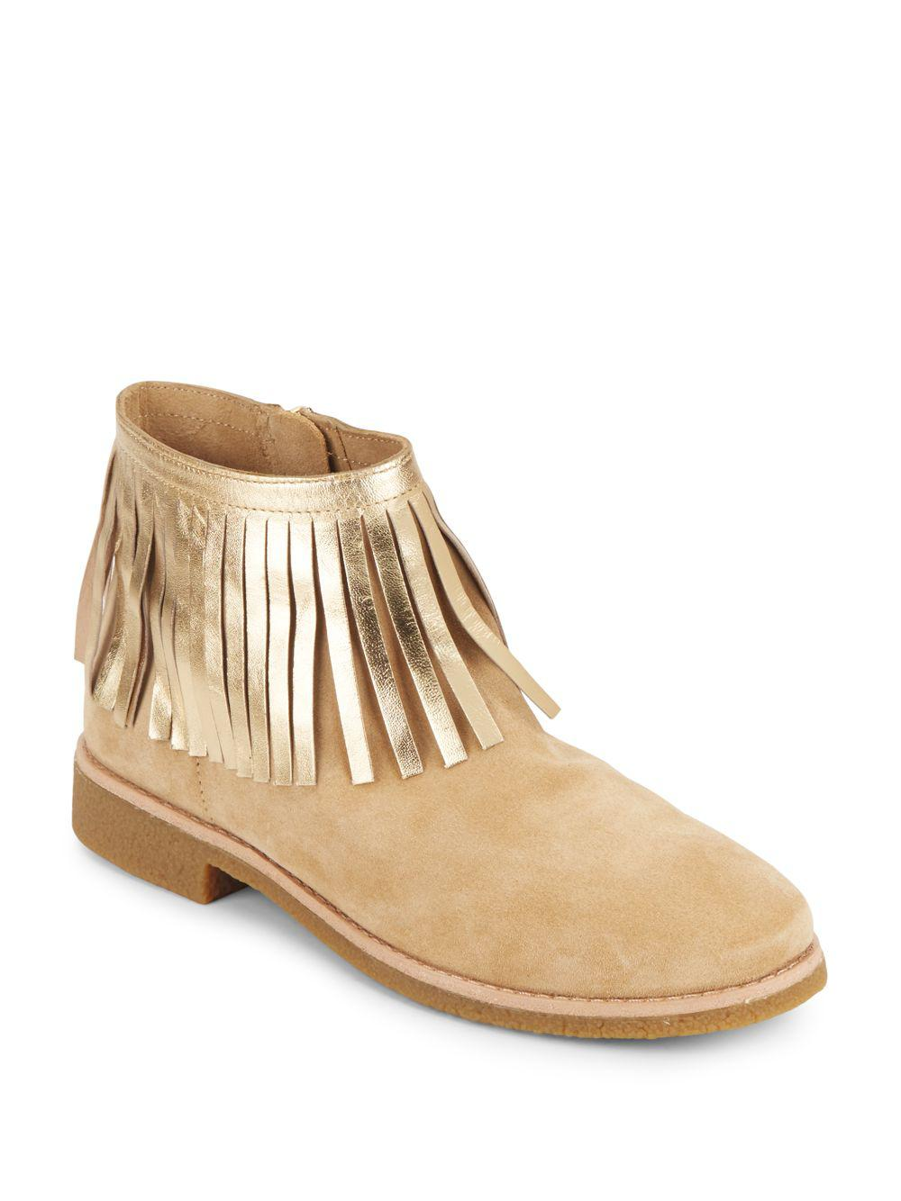 8d537a7019e6 Lyst - Kate Spade Betsie Too Metallic-fringed Suede Ankle Boots