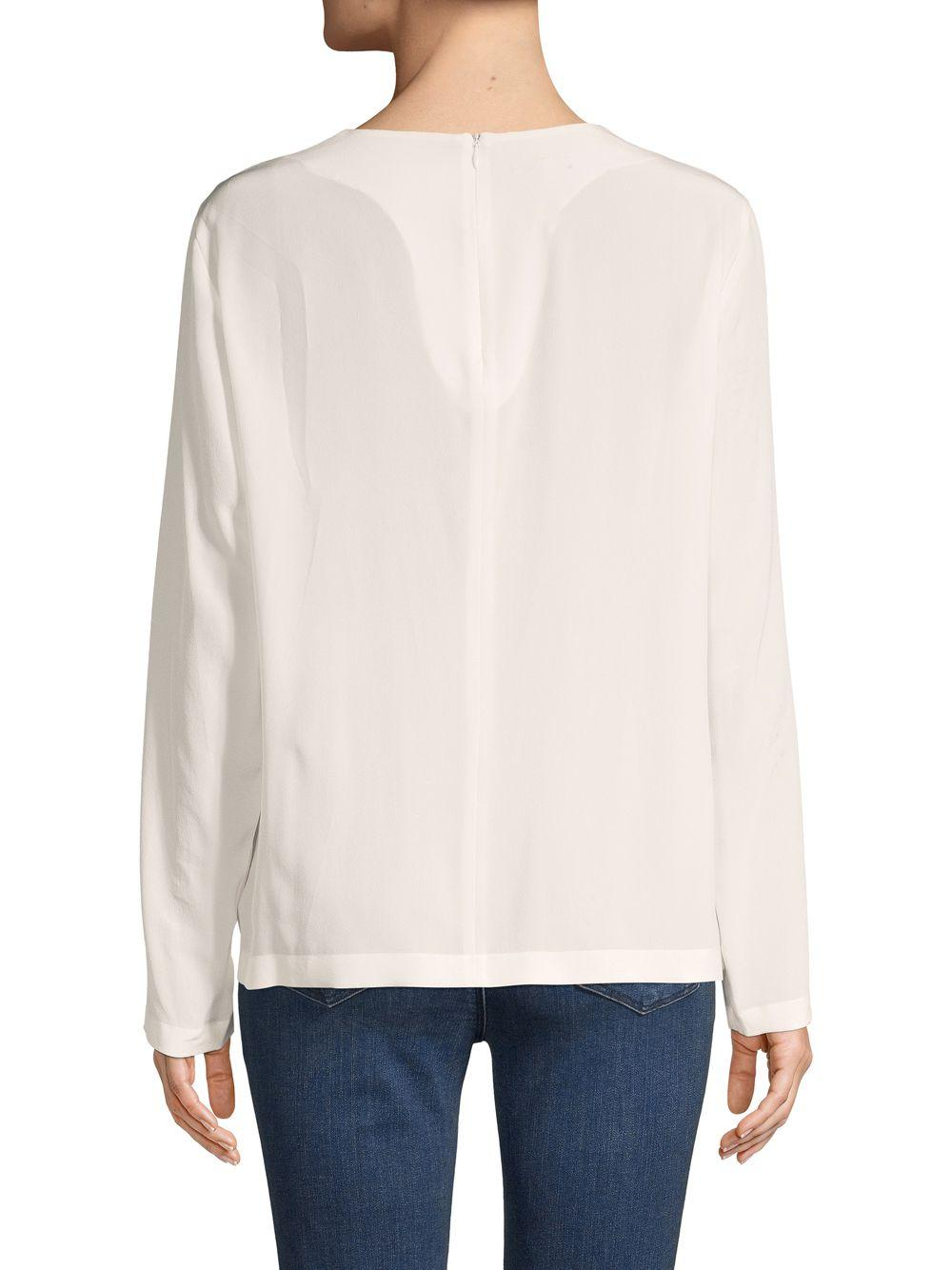 14778ff267cb5 ESCADA - White Njnia Silk Long-sleeve Top - Lyst. View fullscreen