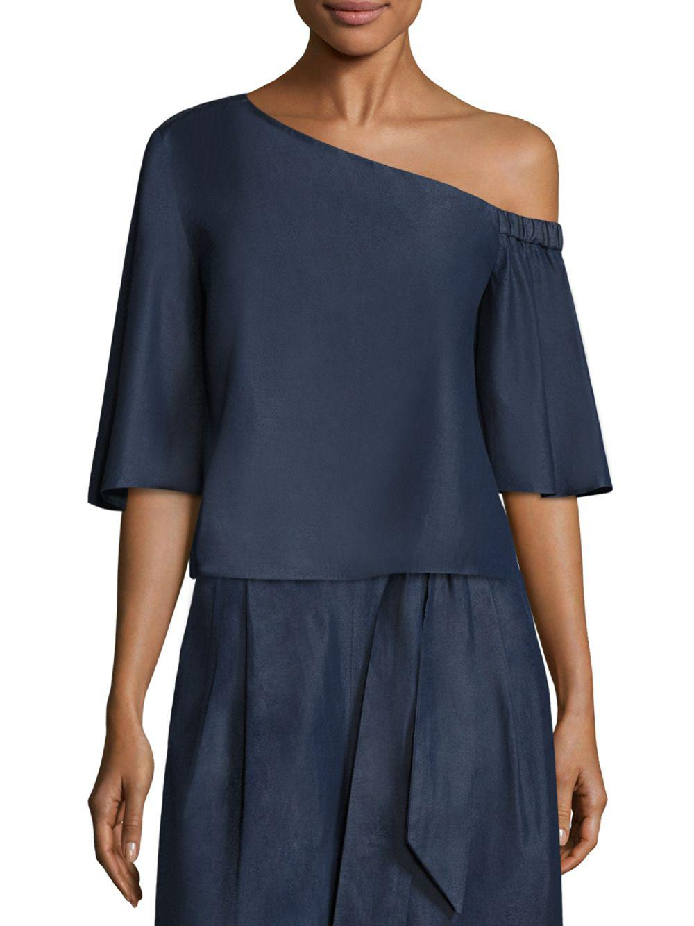 db684ce88e8b5 Lyst - Tibi One-shoulder Cotton Top in Blue - Save 13%