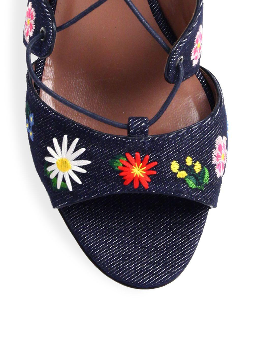 bfadae4e0a89 Tabitha Simmons - Blue Isadora Flower-embroidered Denim Lace-up Sandals -  Lyst. View fullscreen