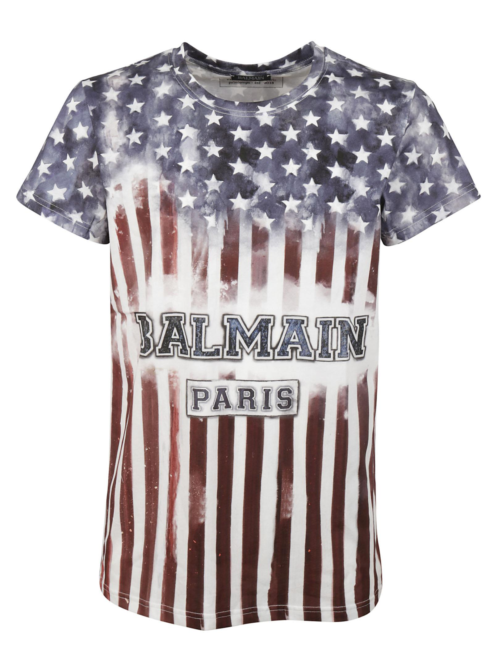 b20d51d87da Lyst Balmain Usa Flag Logo T Shirt For Men. Usa Flag T Shirts Sprehirt. V53  U S Flag Short Sleeve T Shirt Usa Chrome Hearts