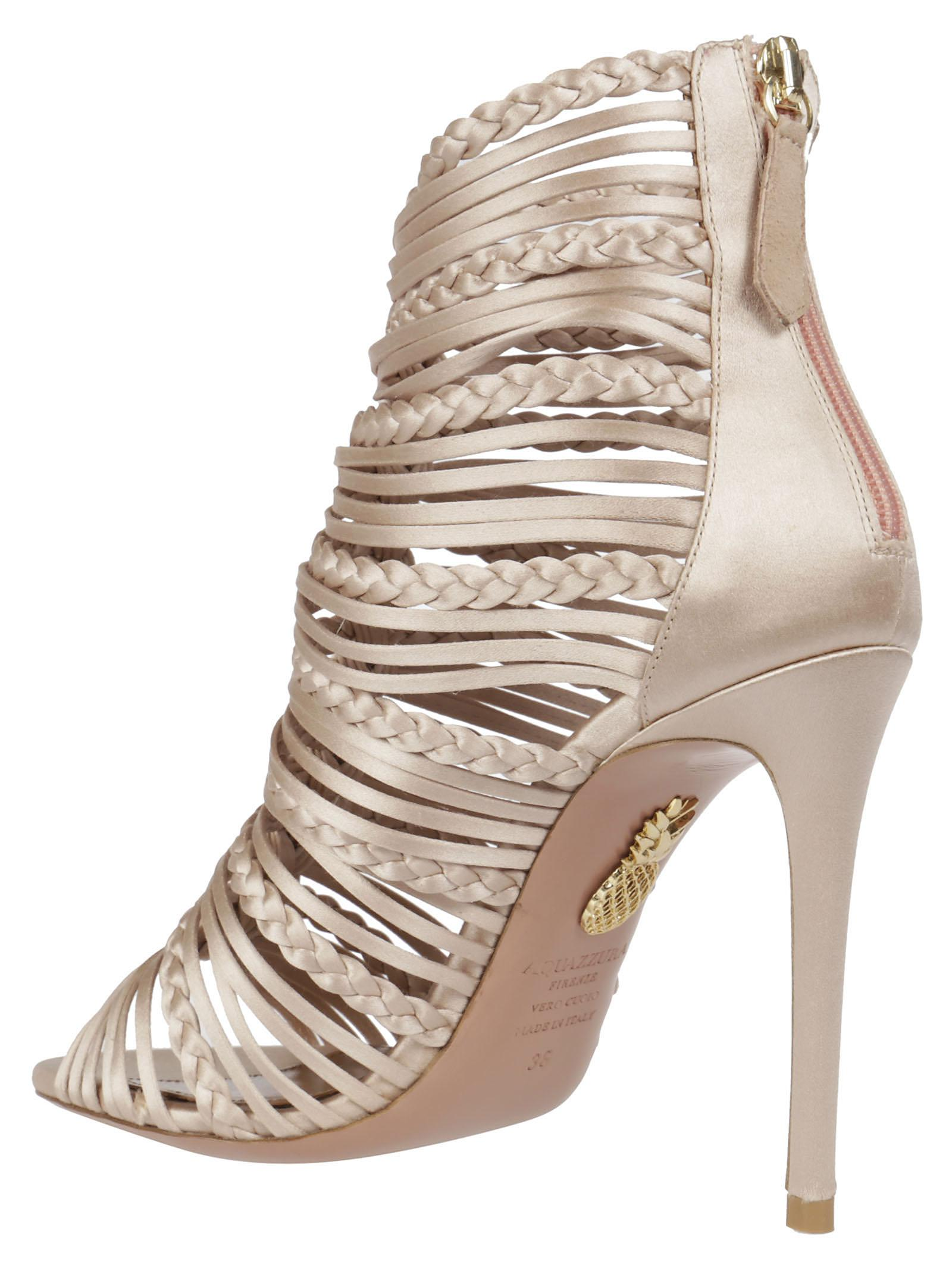 Goddess Sandals 105 in Powder Pink Satin Aquazzura