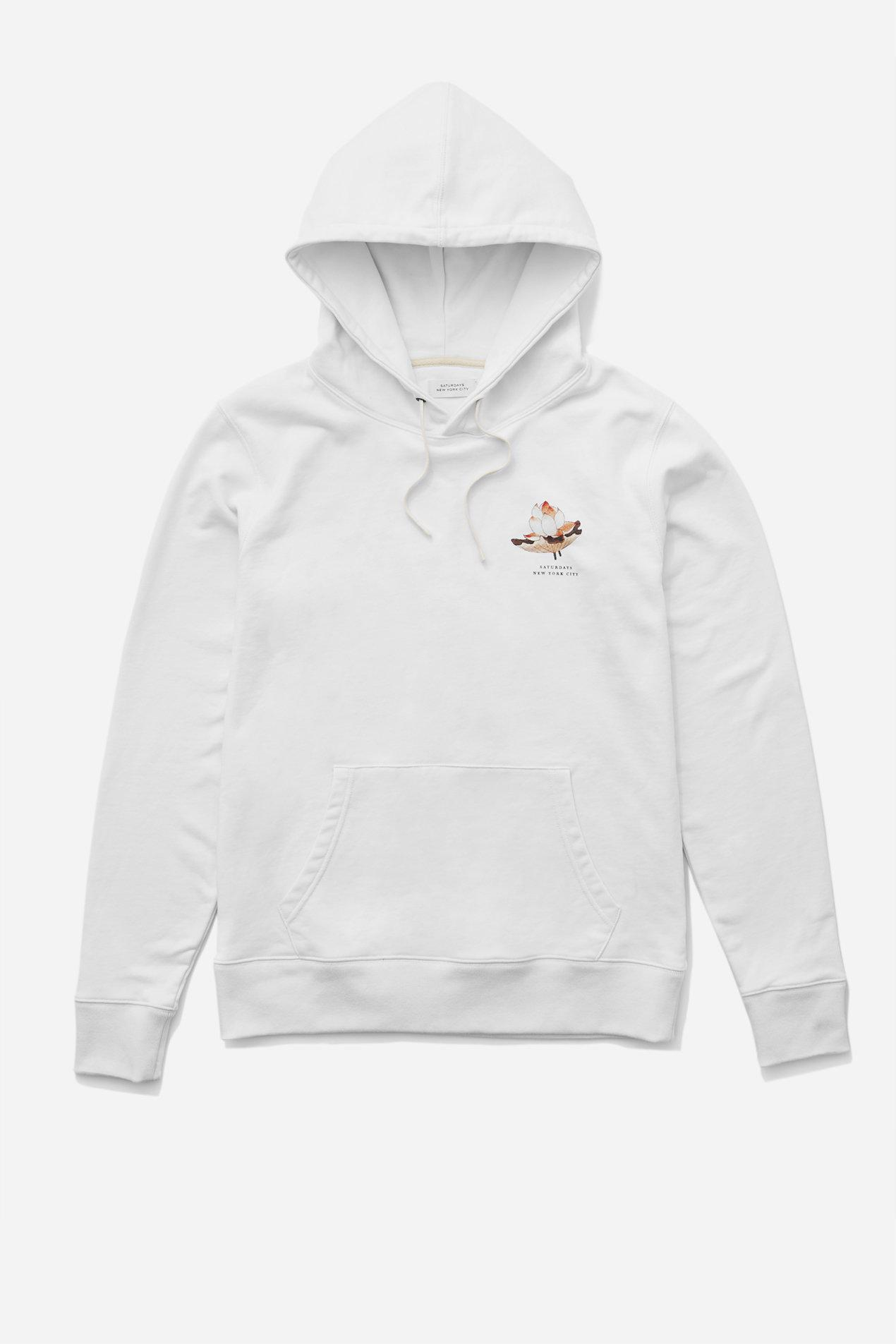 Saturdays Nyc Ditch Lotus Flower Hooded Sweatshirt In White For Men