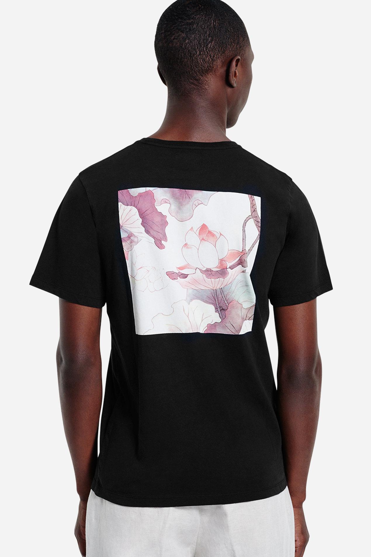 Lyst saturdays nyc lotus flower t shirt in black for men gallery izmirmasajfo