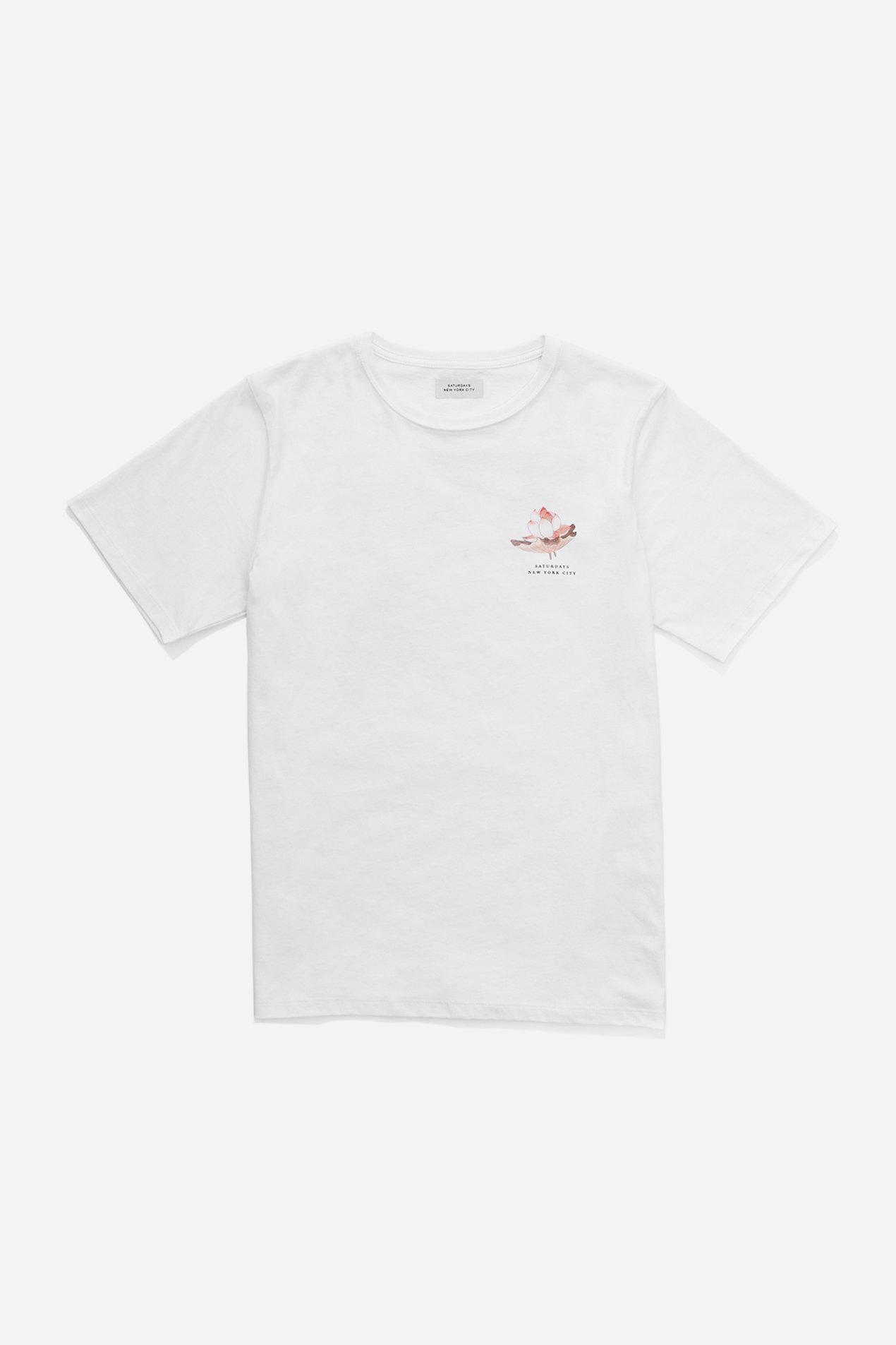 Lyst saturdays nyc lotus flower t shirt in white for men gallery izmirmasajfo