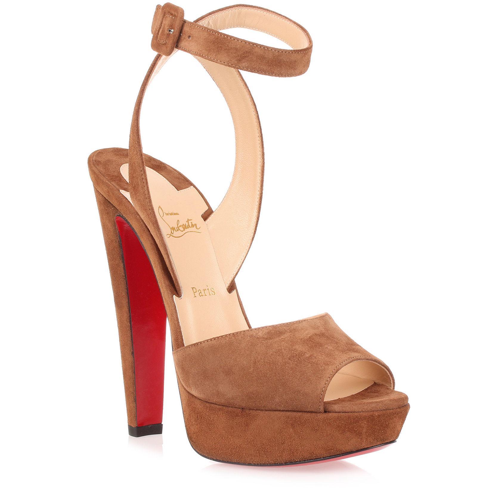 2a3e231e7eb Christian Louboutin. Women s Brown Louloudancing 140 Tan Suede Sandal Us