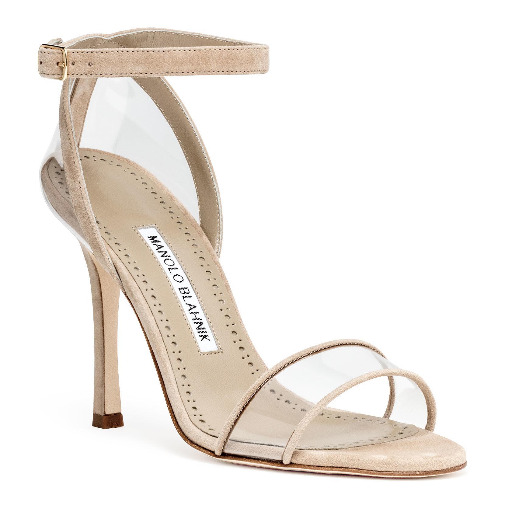 182308cc47a7 Lyst - Manolo Blahnik Dandolo Beige Suede Sandals in Natural