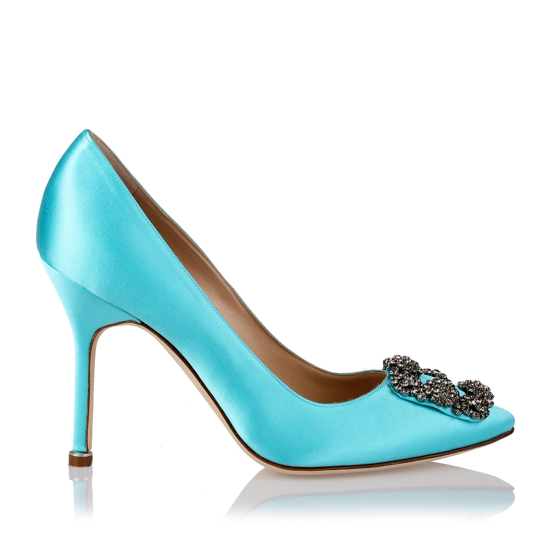 Hangisi 105 turquoise blue satin pump Manolo Blahnik uYdnC