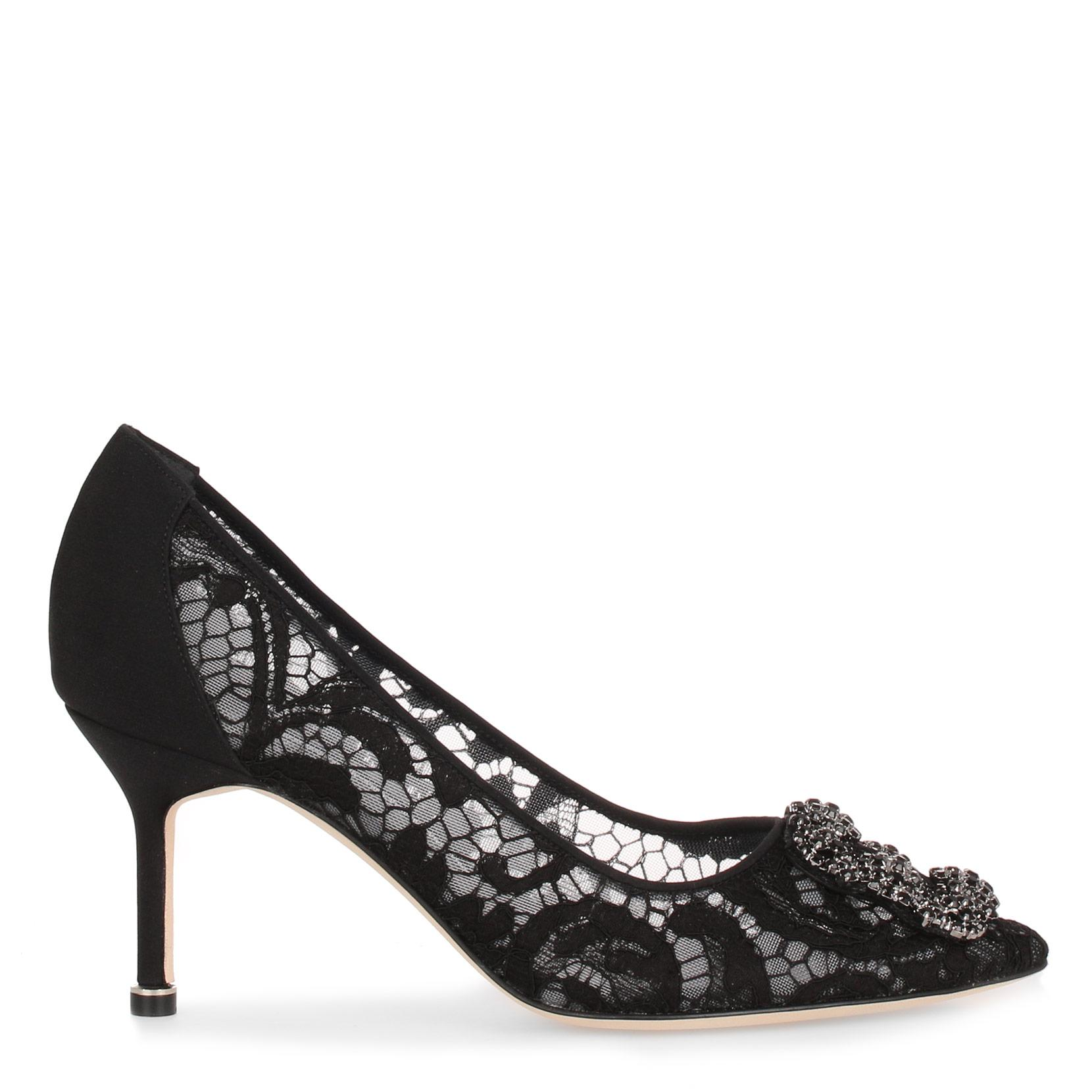 Hangisi 70 black lace pump Manolo Blahnik