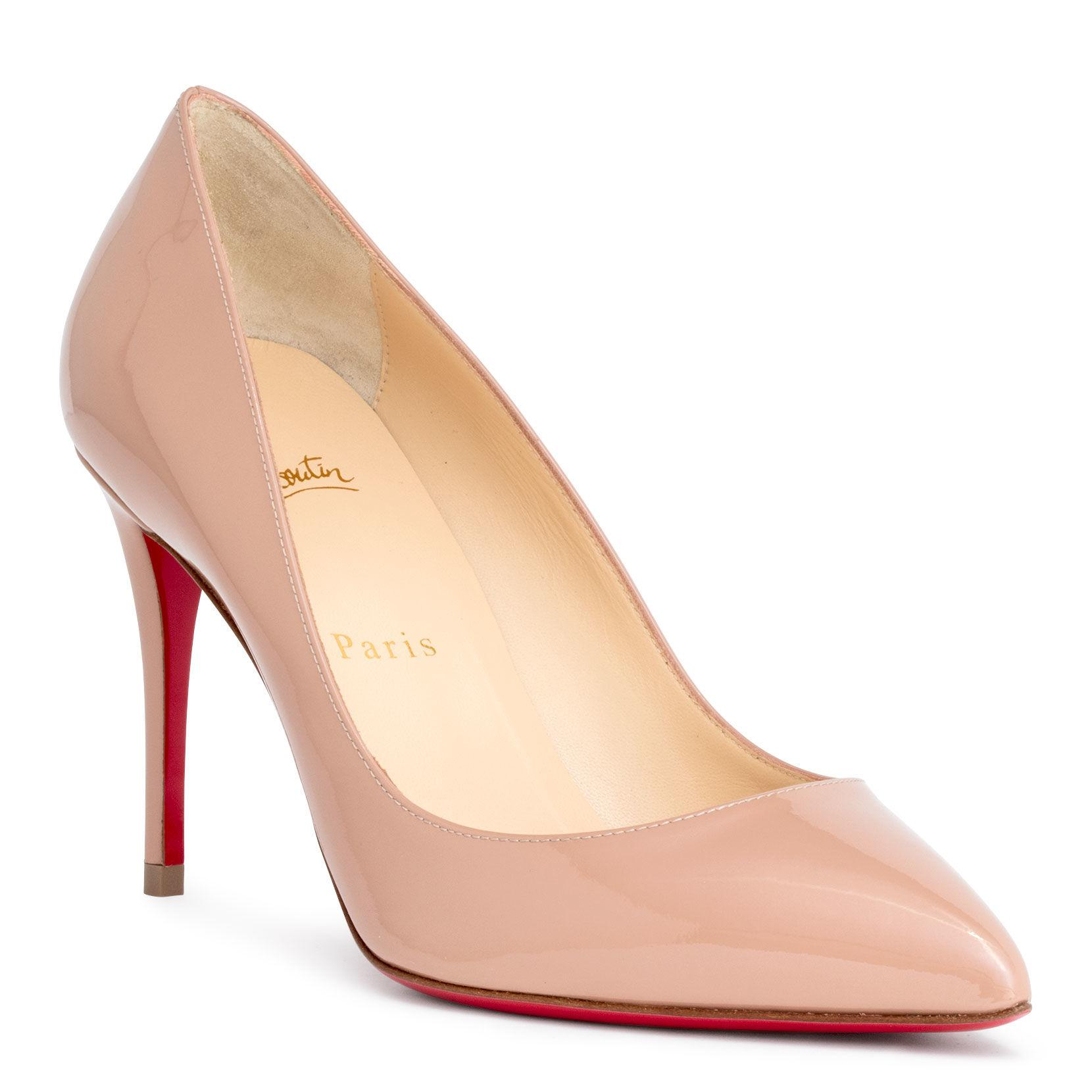 52837cd2179 Christian Louboutin. Women s Natural Pigalle Follies 85 Beige Patent Pumps