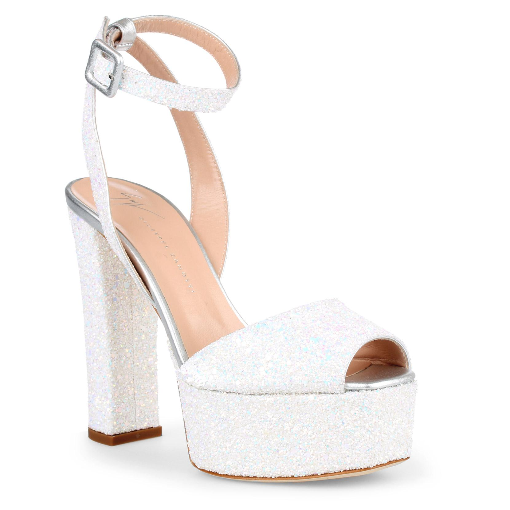101520b2e4a42 Giuseppe Zanotti Betty White Glitter Sandals in White - Lyst