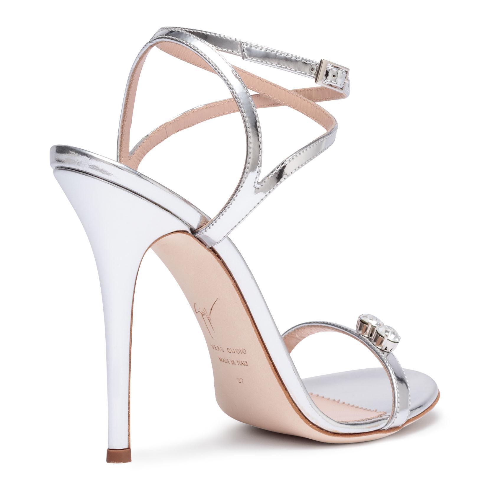 1d00bfa3ca8 Lyst - Giuseppe Zanotti Ellie Metallic Silver Leather Sandals in ...