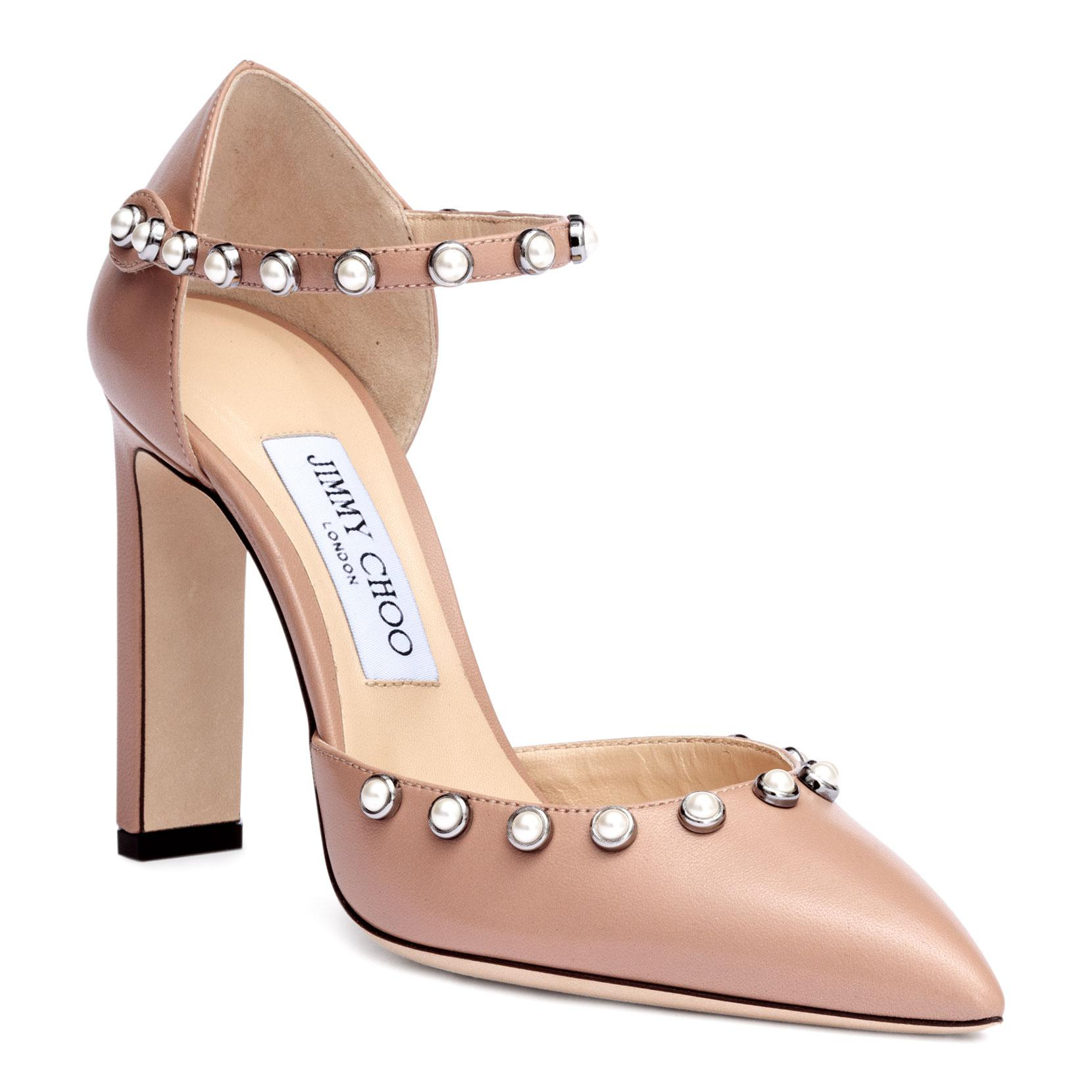 Lou Mid Pumps with Ankle Strap in Ballet Pink Shiny Smooth Leather Jimmy Choo London Fashion Style Cheap Online JCSbUq1cy