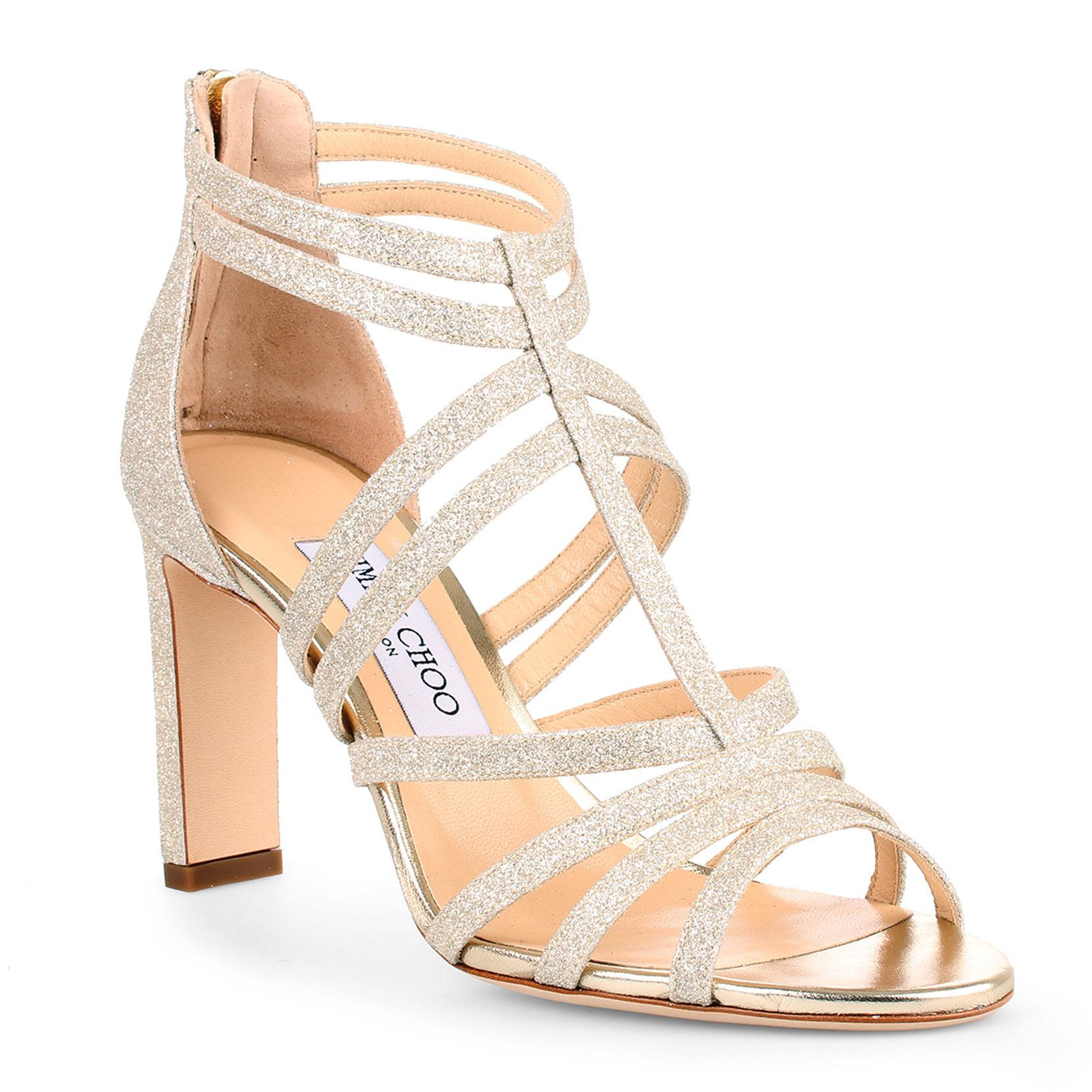 f3645712e582 Lyst - Jimmy Choo Selina 85 Dusty Glitter Sandals in Metallic