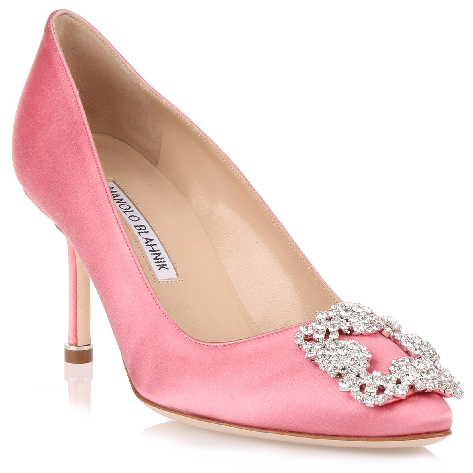 manolo blahnik hangisi 70 satin pump pink clear crystals us in pink rh lyst co uk